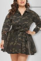 Stylish Casual Camouflage Print Long Sleeve Coat