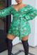 Sexy Print Off Shoulder Green Plus Size Dress