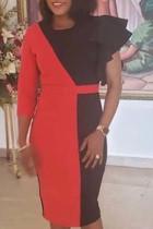 Fashion Stitching Irregular Sleeve Belt Red Dress
