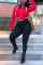 Fashion Sports Hooded Print Red Long Sleeve Two Piece Set