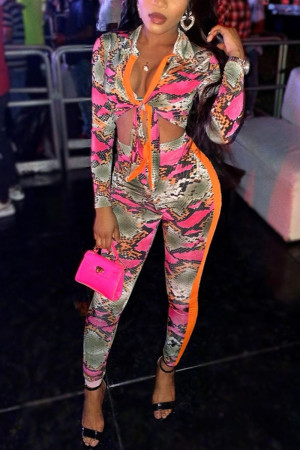 Fashion Printing Long Sleeve Multicolor Two Piece Set