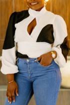 Fashion Plus Size Irregular Stitching White Shirt