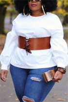 Fashion Sexy Solid Color White Puff Sleeve Shirt (Without Girdle)