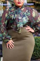Fashion Sexy Camouflage Long Sleeve Chiffon Shirt
