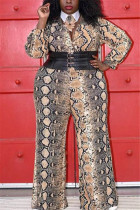 Fashion Sexy V Neck Snake Pattern Multicolor Long Sleeve Jumpsuit (Without Tie And Girdle)