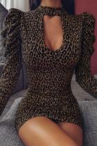 Sexy Leopard Print Puff Sleeve Yellow Dress