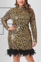 Fashion Sexy Sequined Yellow Leopard Long Sleeve Dress