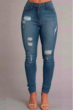 Stylish Casual Blue Slim Denim Trousers