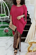 Fashion Leopard Print Stitching Wine Red Dress