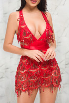 Sexy Sequined Sleeveless Red Backless Dress