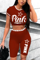 Fashion Letter Print Slim Fit Wine Red Two-Piece Set