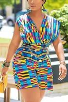 Fashion Sexy Print Multicolor Sleeveless Romper