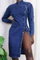 Fashion Sexy Long Sleeve Blue Denim Dress