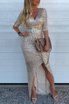 Sexy Long Sleeve Champagne Sequin Dress