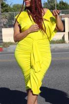 Fashion Deep V Bat Sleeve Loose Yellow Dress
