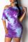 Fashion Casual Graffiti Print Purple Dress