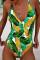 Fashion Sexy Yellow Flower One-Piece Swimwear