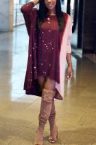 Fashion Printing Wine Red Irregular Dress