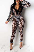 Fashion Sexy Print Perspective White Long Sleeve Jumpsuit