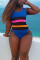 Sexy Stitching Plus Size Multicolor Swimsuit