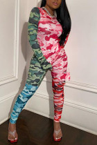 Fashion Casual Camouflage Print Stitching Rose Red Set