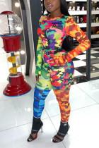 Fashion Casual Camouflage Print Stitching Colorful Set