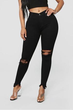Stylish Casual Black Slim Denim Trousers