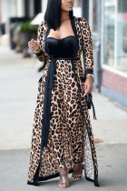 Fashion Casual Leopard Print Brown Two-piece Set