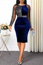 Sexy Fashion Stitching Blue Sequin Dress