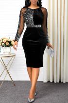 Sexy Fashion Stitching Black Sequin Dress