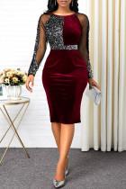 Sexy Fashion Stitching Wine Red Sequin Dress