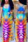 Sexy Fashion Printing Multicolor Sling Long Dress