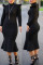 Fashion Long Sleeve Black Turtleneck Dress