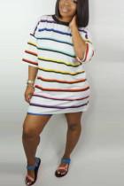 Fashion Loose Striped White Dress