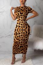 Fashion Leopard Print Yellow Short Sleeve Dress