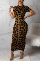 Fashion Leopard Print Brown Short Sleeve Dress