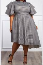 Fashion Sexy Striped Plus Size White Dress