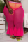 Sexy Fashion Semi-sheer Plus Size Rose Red Pants