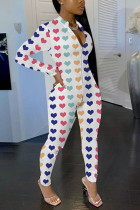 Fashion Casual Heart Printed White Jumpsuit
