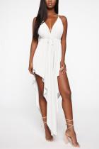 Sexy Fashion Irregular White Sling Dress