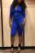 Fashion Casual Printed  Blue Zip Romper