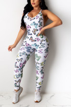 Sexy Butterfly Print White Sling Backless Jumpsuit
