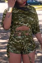 Fashion Short Sleeve Shorts Camouflage Print Set