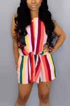 Fashion Casual Striped Multicolor Romper