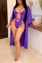 Sexy Fashion Purple Bikini Swimsuit Set