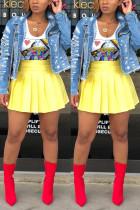 Fashion Sexy Fluorescent Yellow Pleated Short Skirt