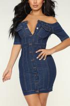 Sexy Off Shoulder Blue Denim Dress