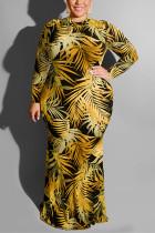 Fashion Leaf Print Yellow Plus Size Dress