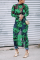Fashion Sexy Print Sheer Green Dress