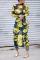 Fashion Sexy Print Sheer Yellow Dress